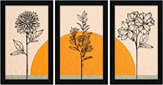 ArtX Paper Flower Wall Art Framed Paintings 13.5 X 25.5 inches(Combined), 8.5 X 13.5, Multicolor, Floral, Abstract, Set of 3