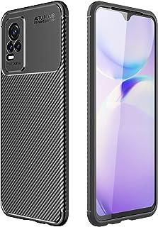 Carbon Fiber Case AutoFoucs Vivo V21e (4G Only) Slim Soft TPU Case Cover Vivo V21e 4G (Black)