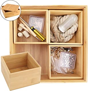 Mebbay 5 Pack Bamboo Storage Box Organizer,Unique Design 4 Small Bamboo Boxes in A Large Bamboo Box, 100% Natural Bamboo, for Storage, Collection