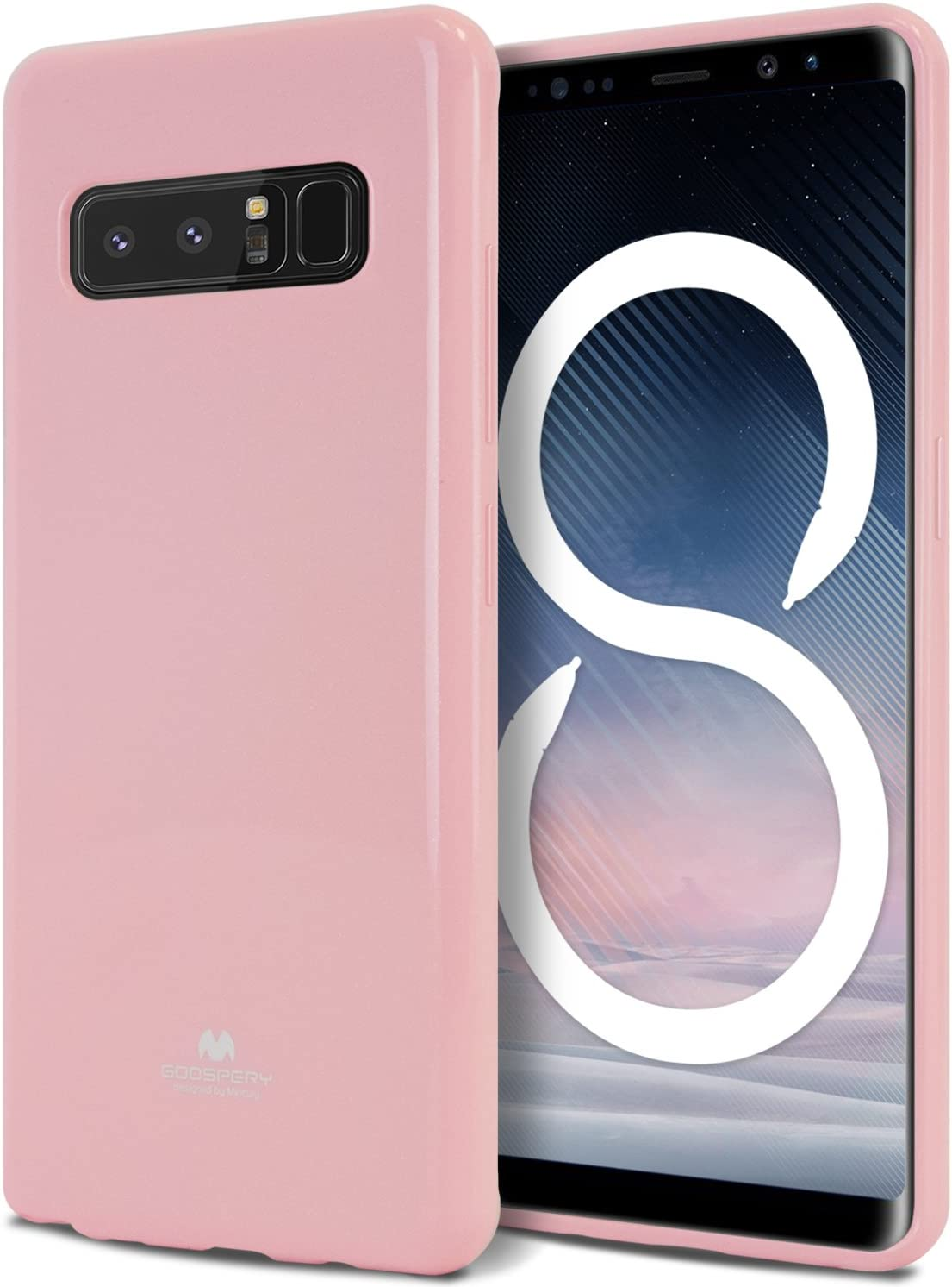 Goospery Pearl Jelly for Samsung Galaxy Note 8 Case (2017) Slim Thin Rubber Case (Pink) NT8-JEL-PNK