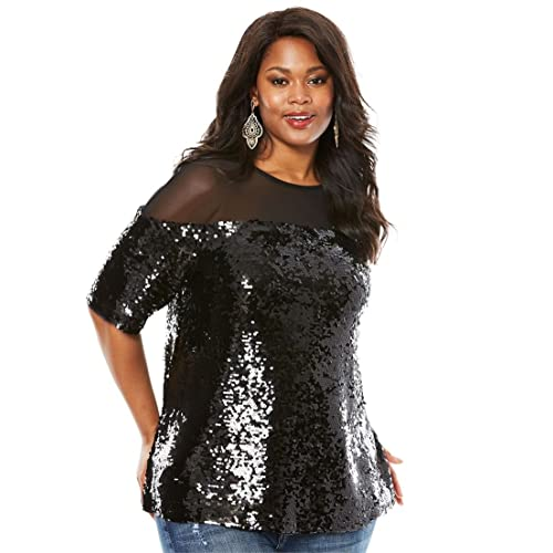 1e0417ecac1 Roamans Women s Plus Size Sequin Illusion Boxy Top
