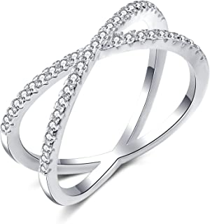X Ring Sterling Silver, Cubic Zirconia X Criss Cross Ring for Women, Size 6-9