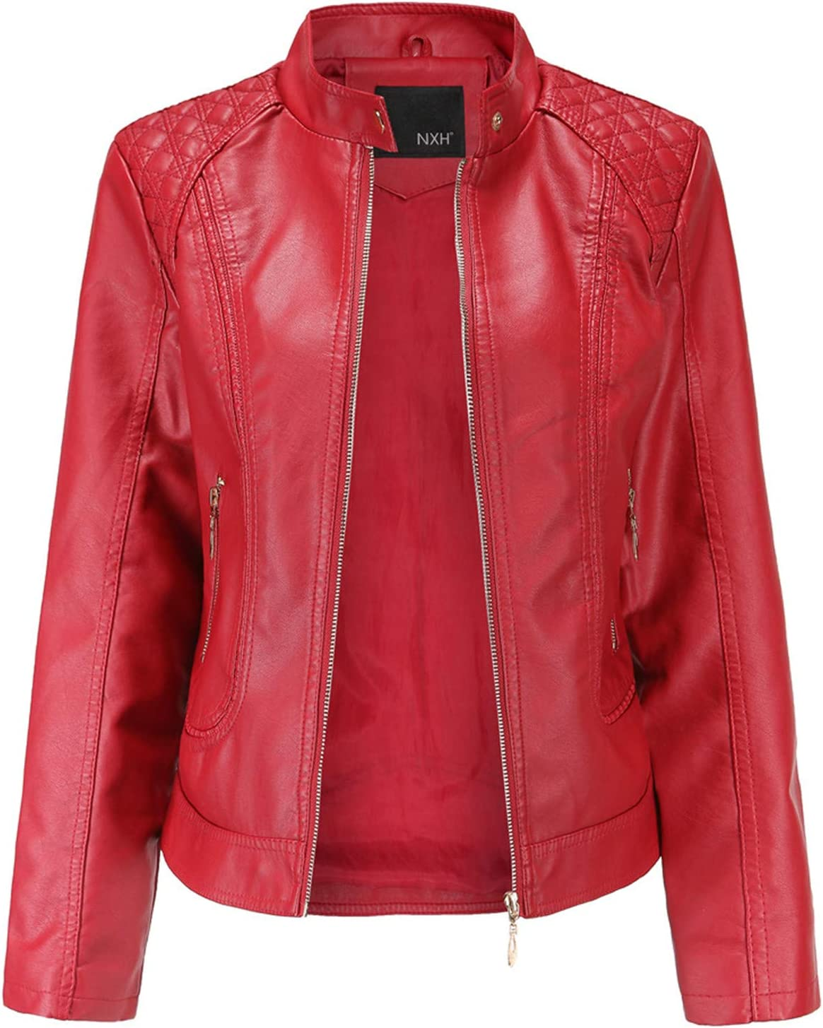 Women's Black Faux Leather Jacket Moto Biker Short Coat PU Jacket for Motorcycle Leather Coats for Women H2,RED,XL