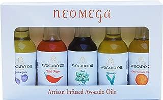 NEOMEGA Sampler Gift Pack of Five Infused Avocado Oils, Great Gift for the Keto/Paleo/Chef/Food Lover, 1.9 oz - Basil, Chili, Ginger-Turmeric-Orange, Garlic, Rosemary, Made in USA