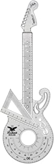Suck UK Rockstar Ruler | 15 cm Ruler, Protractor & 60° Set Square | Geometry Set | Clear Shatterproof Ruler | Math Set | C...
