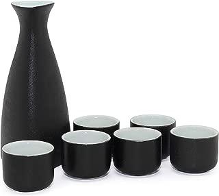 NEWQZ Japanese Sake Set, Traditional Ceramics Black Sake Sets 1 Pot and 6 Cups, with a Gift Box