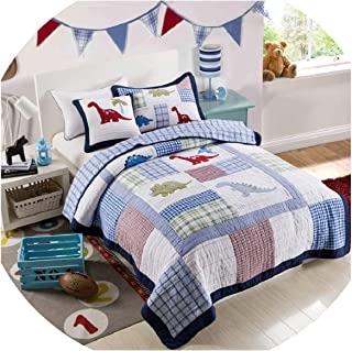 FAT SHEEP-Bedspreads Kids Bedspread Quilt Set 2Pcs Coverlet Quilted Bed Covers Washed Cotton Dinosaur Embroidered Quilts Cover Twin Size Boys Bedding,2Pcs Set,Blue