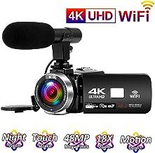 Videocamara 4K 24FPS Cámara de Video 30MP WiFi Videocamara Vlogging con Pantalla Táctil de 3.0