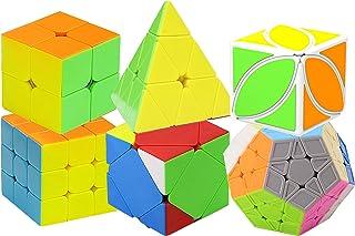 CXLグローバルスピードキューブセット2x2 3x3ピラミッドマジックキューブ,ステッカーなしキューブ,競技専用 世界基準配色,なめらかキューブ,6歳以上に適しています(6個セット)