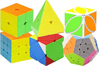 H XD global Speed Cube Set of 2x2 3x3 Pyramid Cube, Megaminx Cube, Skewb Cube, Smooth Magic Cube, IQ Puzzle Toy for Kids(6 Pack)