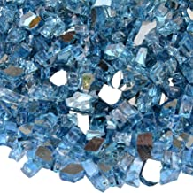 onlyfire Reflective Fire Glass for Natural or Propane Fire Pit, Fireplace, or Gas Log Sets, 10-Pound, 1/4-Inch, Pacific Blue