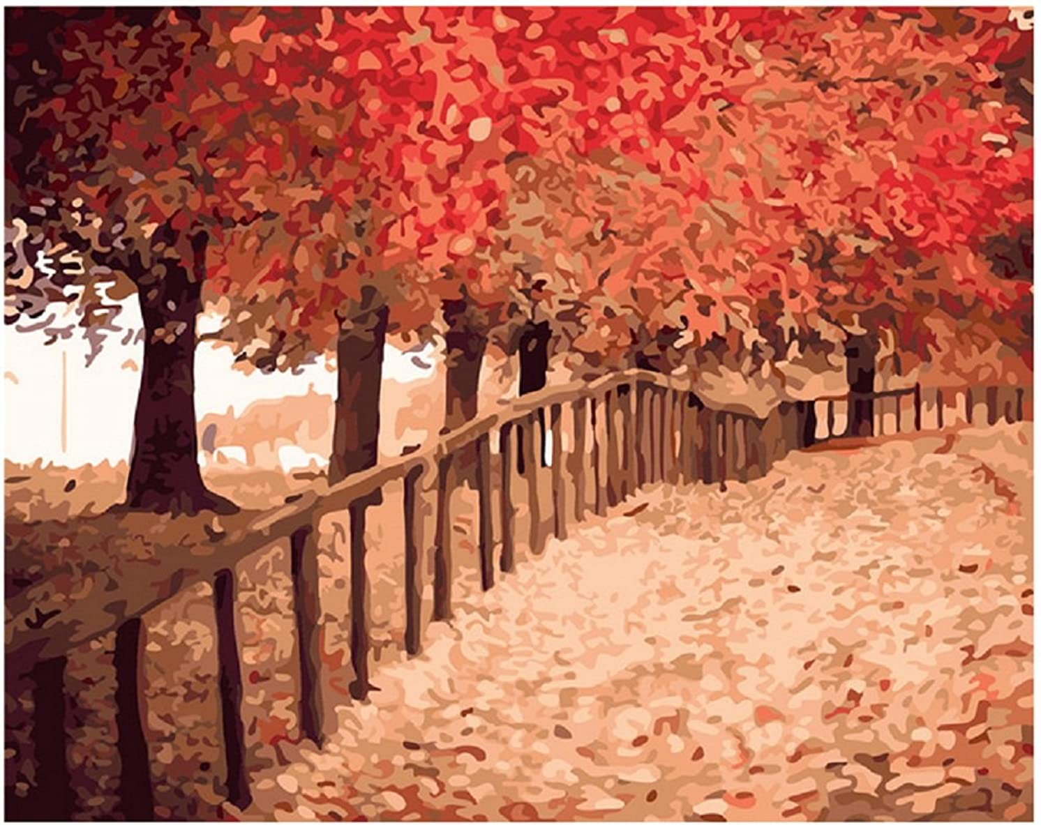 Diy oil painting, paint by number kit- The maple leaves to meet autumn 1620 inch.