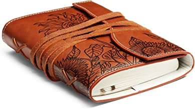 Unique Writing Journal Gifts-Personalized Brown Vegan Leather Bound Notebook-Refillable Embossed B6 Unlined/Blank Diary-Beautiful Daily Use Gifts for Men & Women/Vegetarians/Teen Girls & Boys