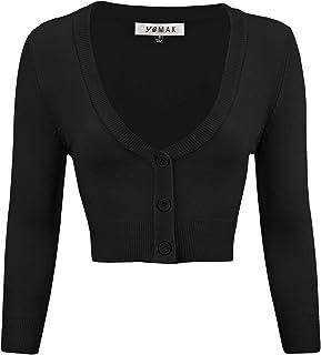 YEMAK Women's Cropped Bolero 3/4 Sleeve Button Down Cardigan Sweater (S-4X)