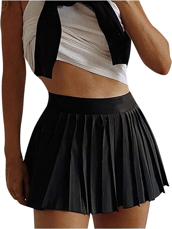 iLUGU Women's Casual High Waist Pleated Mini Skirt Solid Zipper Tennis Skirt Beach Skirt