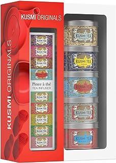 Kusmi Tea – Geschenkset Kusmi Originals  Teezange – Auswahl berühmter Schwarztees – Earl-Grey-Tee und Ceylan-Tee – mit Blüten, Gewürzen, Zitrusfrüchten und roten Früchten aromatisiert – 5x Teedosen aus Metall