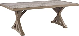 Beachcroft Outdoor Farmhouse Beige Dining Table with Porcelain Top and Umbrella Hole
