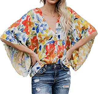 Mogogo Women's Bat Sleeve Button Closure Floral Design T-Shirt Blouses Tops