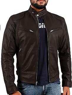 Men's Sword Black Genuine Lambskin Leather Biker Jacket - 1501533