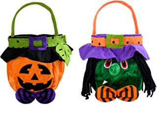 KATELUO 2 st kreativa halloween godispåsar/halloween handväska/pumpa häxa godispåse, bus eller godis väska, halloween barn...