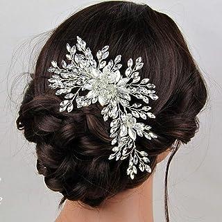 Handcess - Cerchietto per capelli da sposa con cristalli argentati, con foglie di strass, accessorio per capelli da sposa ...