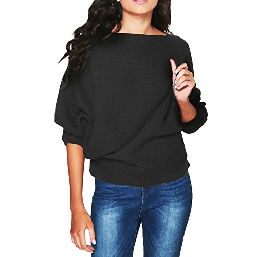 9cee8563178769 Style Dome Women's Knit Casual Batwing Long Sleeve Loose Knitwear Pullover  Sweater Jumper Ribbed Tops