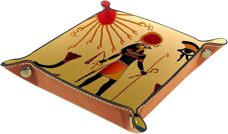 Bandeja de Valet, colección de Cuero PU, Bandeja organizadora, Caja de Almacenamiento para Relojes, Joyas, Monedas, Billetera, Sol, Desierto, Antiguo Egipcio