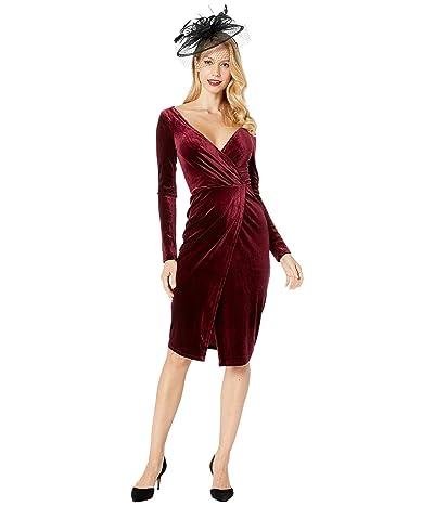 Unique Vintage Velvet Long Sleeve Damsel Wiggle Dress (Merlot) Women