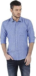 BASICS Slim Fit Blue Chambray Linen Shirt