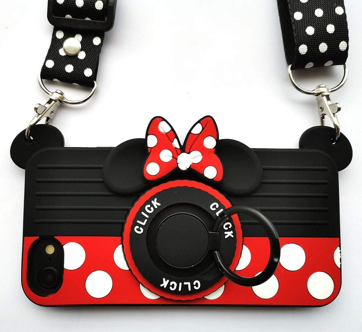 iPhone SE Case(2020) iPhone 8 Case iPhone 7 Case iPhone 6 Case 6S Case 3D Cute Soft Silicone Cartoon Minnie Mouse Camera Design Phone Case Women/Girl/Friends Classmate Best Birthday Gift (4.7in)