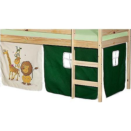 IDIMEX Lot de Rideaux cabane pour lit surélevé superposé mi-Hauteur Mezzanine Tissu Coton Motif Savane Vert