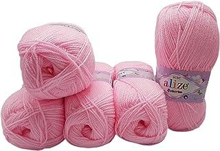 Alize Bebe Lot de 5 pelotes de laine à tricoter 100 g Couleur unie 500 g pour tricot et crochet (rose 185)