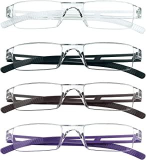 4 Pairs Reading Glasses, Blue Light Blocking Glasses, Computer Reading Glasses for Women and Men, Fashion Rectangle Eyewear Frame(4 Colors,+2.00 Magnification)