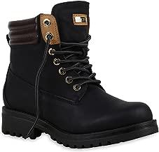 Stiefelparadies Damen Stiefeletten Worker Boots mit Blockabsatz Metallic Profilsohle Flandell