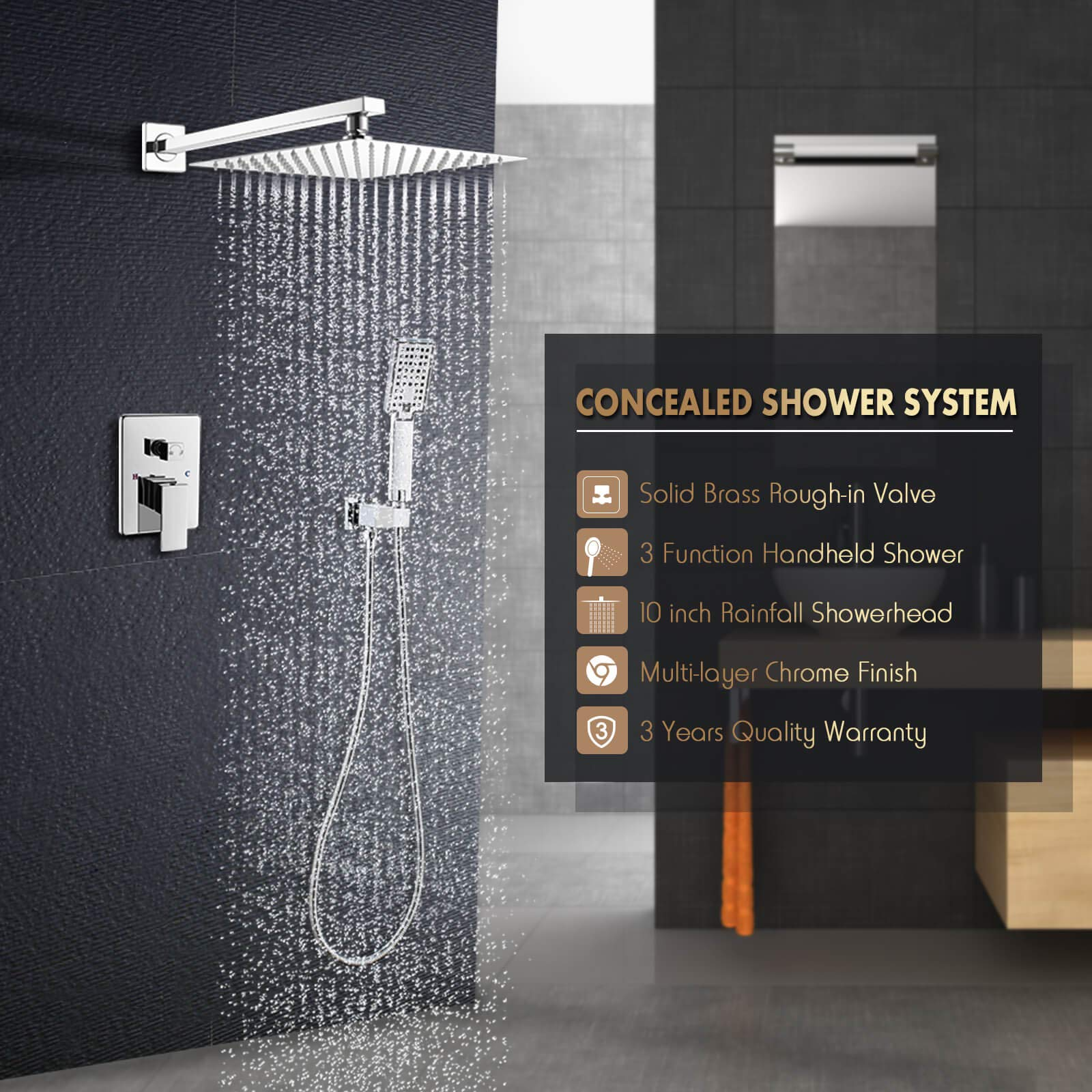 ROVOGO Bathroom Rain Mixer Shower Combo Set, Wall Mount Concealed ...