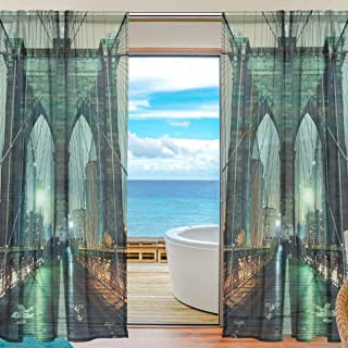 XiangHeFu Sheer Curtain Tulle Night Landscape Brooklyn Bridge Voile Window Curtains for Bedroom,55(W) x84(L) Inch,2 Panels