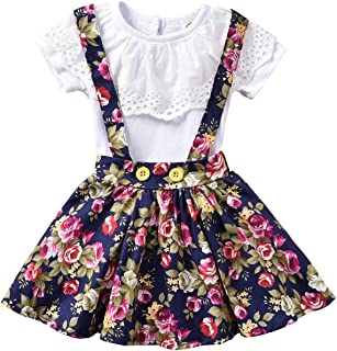 Baby Girls' 2pcs Clothes Outfits Lace Ruffled Tops+Floral Suspender Skirt Sets