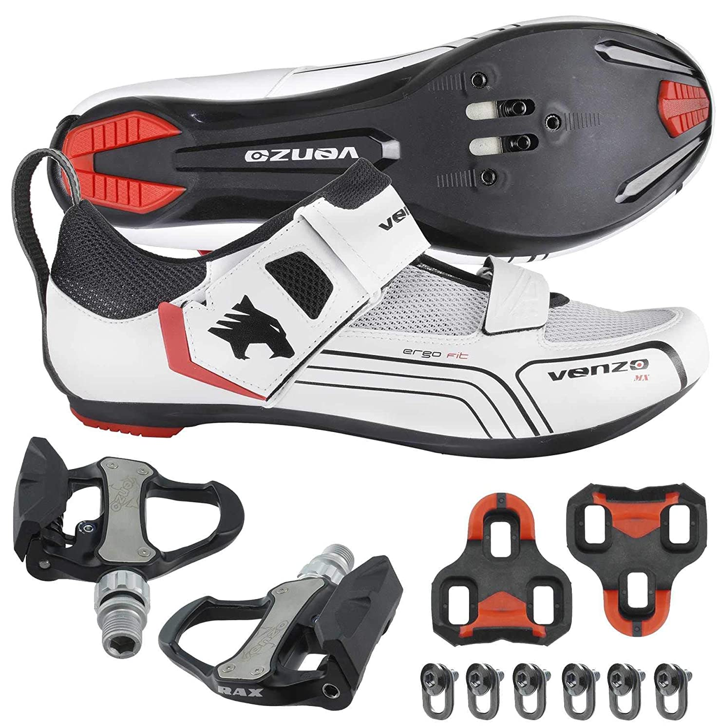 Venzo Cycling Bicycle Bike Triathlon Shoes with Pedals for Shimano SPD SL Look White