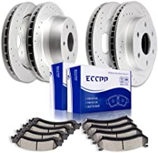ECCPP Brake Rotor 4pcs Slotted Drilled discs and 8pcs Ceramic Pads fit for Chevy Silverado Avalanche Suburban 1500 Tahoe f...