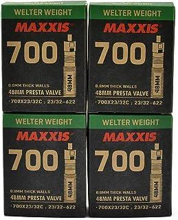 Maxxis Welter Weight 700x23-32C 48mm Bike Inner Tube Presta FV, 4Pack, STB2033-4-N