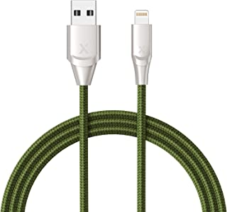 Xcentz iPhone Charger 6ft, Apple MFi Certified Lightning Cable iPhone Charger Cable Metal Connector, Durable Braided Nylon High-Speed Charging Cord for iPhone X/XS Max/XR/8 Plus/7/6/5/SE, iPad, Green