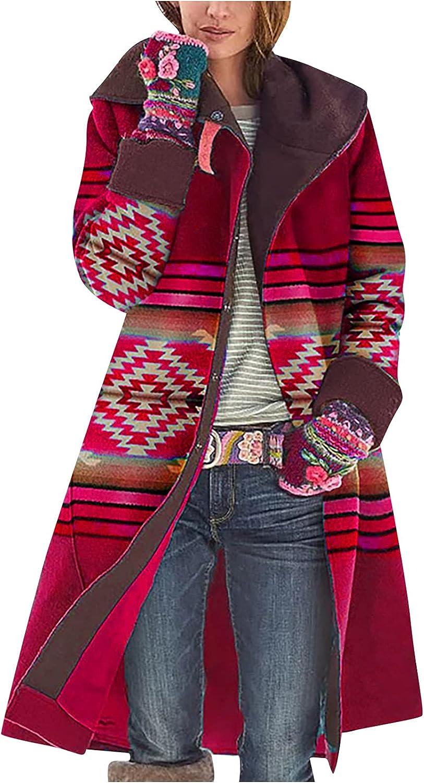 Women's Vintage Ethnic Print Coat Fashion Lapel Long Sleeve Cardigan Single Breasted Oversized Jacket Open Front Tops