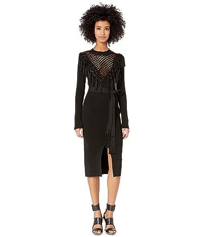 YIGAL AZROUEL Macrame Front Knit Dress with Belt (Jet) Women