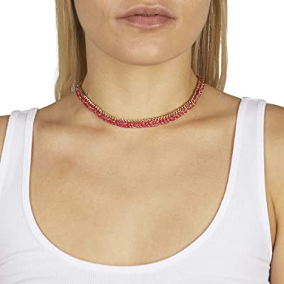 Rebecca Minkoff Woven Chain Necklace (Gold/Pink) Necklace