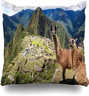 DIYCow Throw Pillow Covers Terrace Blue Macchu Llama Historic Lost City Machu Picchu Wildlife Peru Holidays Pichu Home Decor Pillowcase Square Size 18 x 18 Inches Zippered Cushion Case