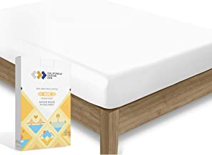 California Design Den 400 Thread Count 100% Cotton 1 Fitted Sheet Only, Pure White Queen Fitted Sheet, Long - Staple Combe...