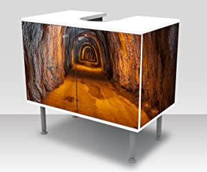 wandmotiv24 Badunterschrank túnel bajo Tierra Diseño baño Armario M0816 Frente y Lados pegando gabinete de la vanidad