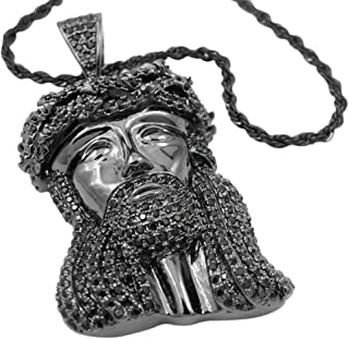 18K White Gold/Black Gold/Yellow Gold-Plated Cubic Zirconia Jesus Piece