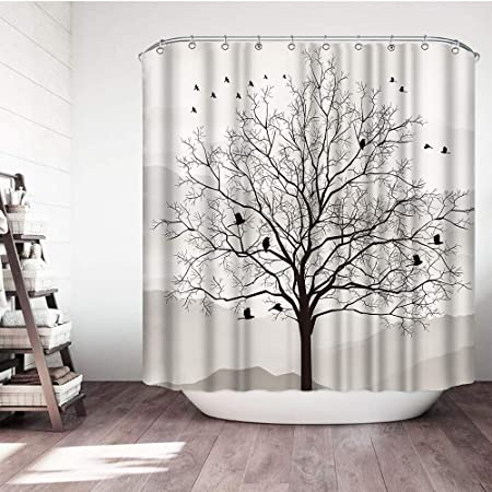 """Details about  /Abstract Tree and Birds Black and White Shower Curtain Set Bathroom Decor 72/"""""""