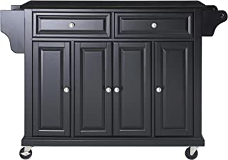 Crosley Furniture Rolling Kitchen Island with Solid Black Granite Top